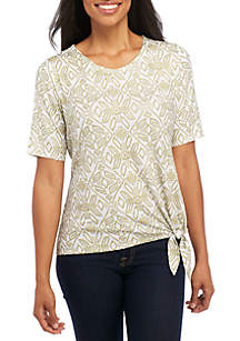 Printed Elbow Sleeve Knit T-Shirt
