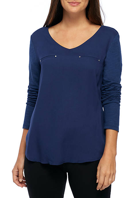 New Directions® Long Sleeve Woven Knit V-Neck Top