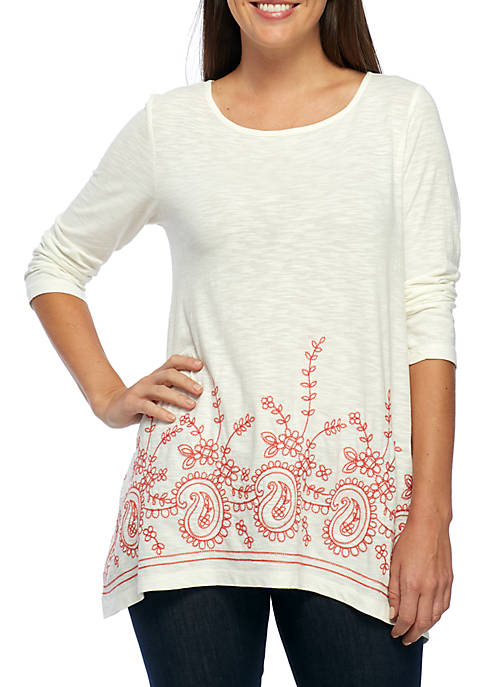 New Directions® Embroidered Shark-Bite Hem Top