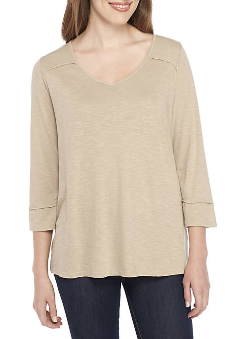 New Directions® 3/4 Sleeve V-Neck Top