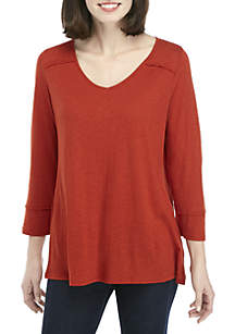 New Directions® 3/4 Sleeve V Neck Top