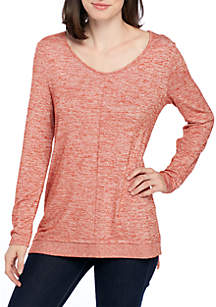 Long Sleeve V-Neck Rib Hem Sweater