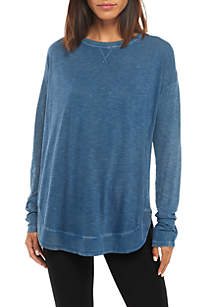 Long Sleeve Rib Hem Burnwash Solid Top