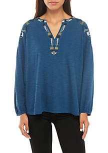 Embroidered Shoulder Peasant Top