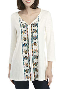 Embroidered Panel Woven Top