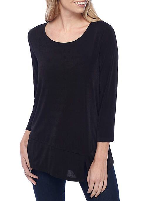 New Directions® Asymmetrical Three-Quarter Sleeve Top