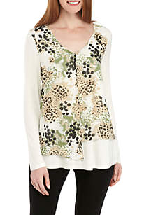 Knit and Woven Asymmetrical Top
