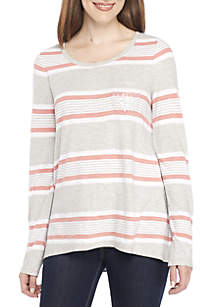 New Directions® Long Sleeve Sequin Pocket Stripe Tee