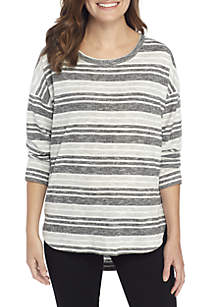 New Directions® Long Sleeve Round Hem Stripe Top