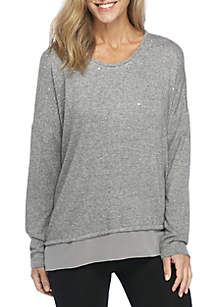 New Directions® Long Dolman Sleeve Embellished Top