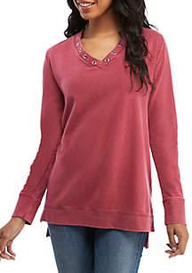 Grommet Neck Tunic Sweatshirt