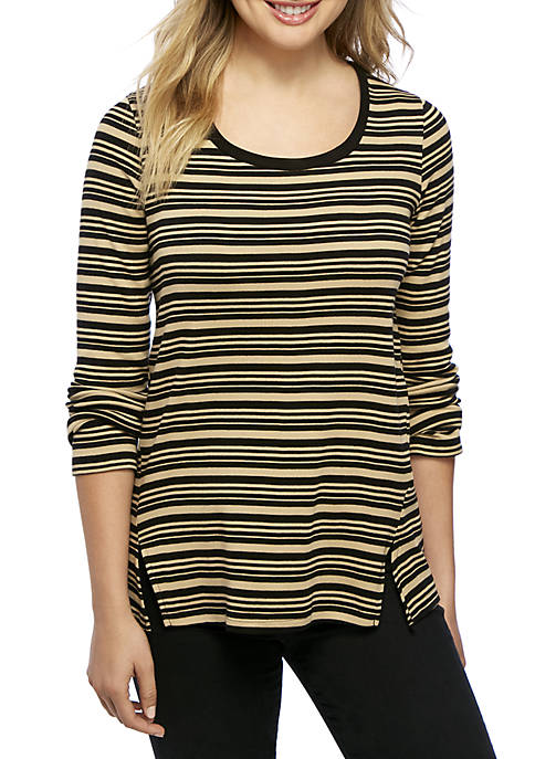 New Directions® Long Sleeve Split Seam Ribbed Top