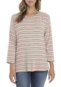 New Directions® 3/4 Sleeve Stripe Knit Top
