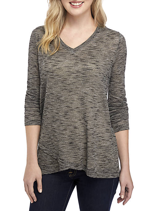 New Directions® Long Sleeve V Neck Jersey Knit