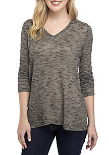2d6ed517a5c7d5 ... New Directions® Long Sleeve V Neck Jersey Knit Top