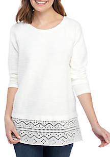 New Directions® Long Raglan Sleeve 2Fer Sweatshirt