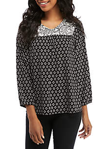 New Directions® Medallion Knit Top