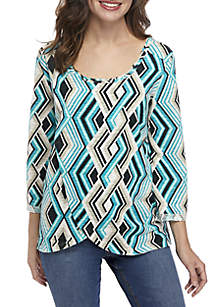 New Directions® Scoop Neck Butterfly Top
