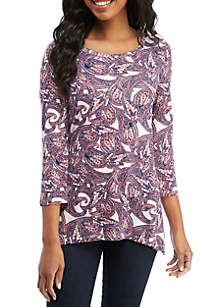 New Directions® Printed Shark Bite Top