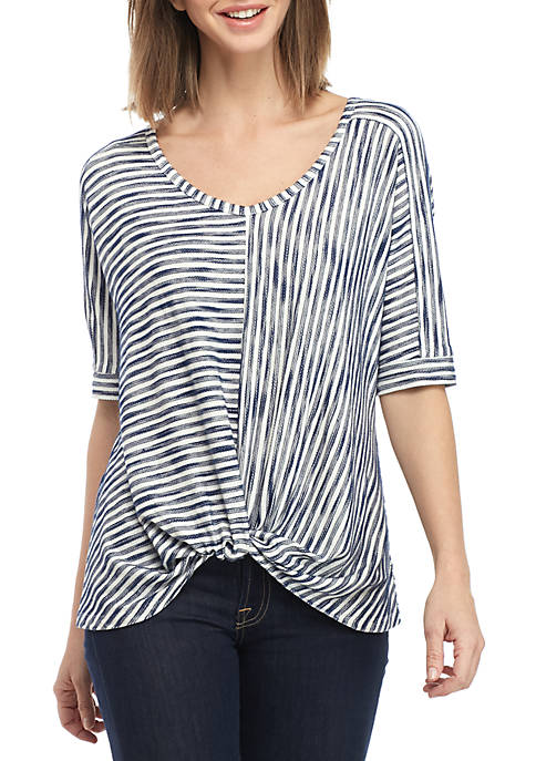 Elbow Sleeve Stripe Front Knot Top