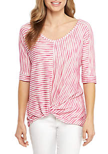 New Directions® Elbow Sleeve Stripe Front Knot Top