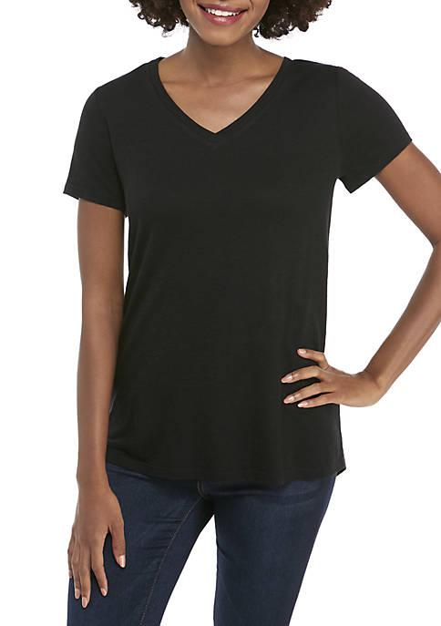 Womens V-Neck Solid T-Shirt