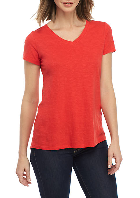 New Directions® V-Neck Solid Tee