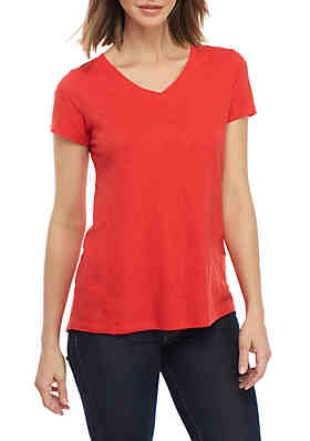 db8fdc0de75 New Directions® V-Neck Solid Tee ...