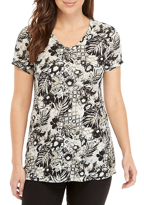 New Directions® Short Sleeve V-Neck Print Top