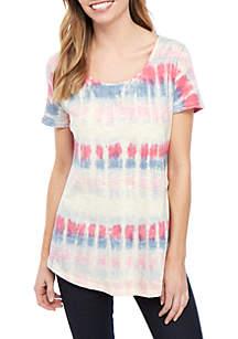 New Directions® Short Sleeve Scoop Neck Tie Dye Top