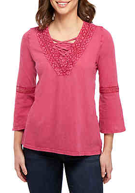 1c0242cbcdfdb New Directions® 3 4 Sleeve V Neck Peasant Top ...