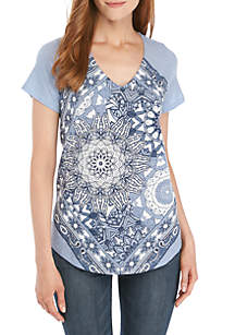 New Directions® Short Sleeve Scoop Neck Graphic Tee
