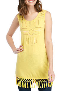 New Directions® Sleeveless Embroidered Fringe Tank
