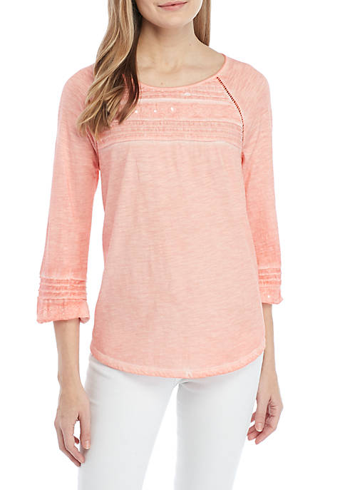 Embroidered Raglan Sleeve Top