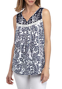 New Directions® Embroidered Tie Front Sleeveless Top