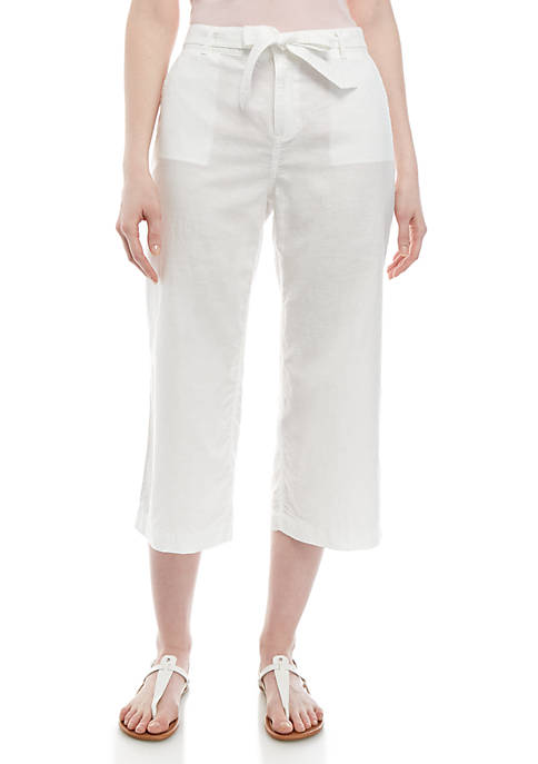 Belted Wipe Leg Crop Pants