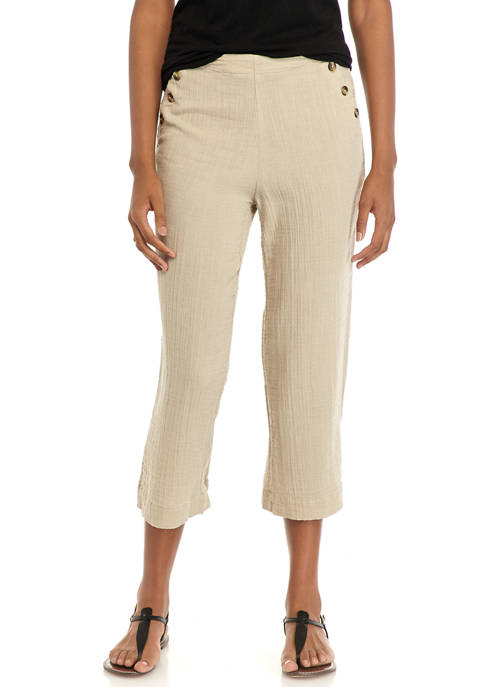 New Directions® Womens Button Waist Crop Pants