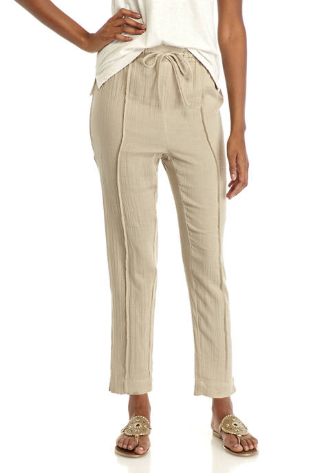 New Directions® Womens Tie Waist Slim Ankle Pants