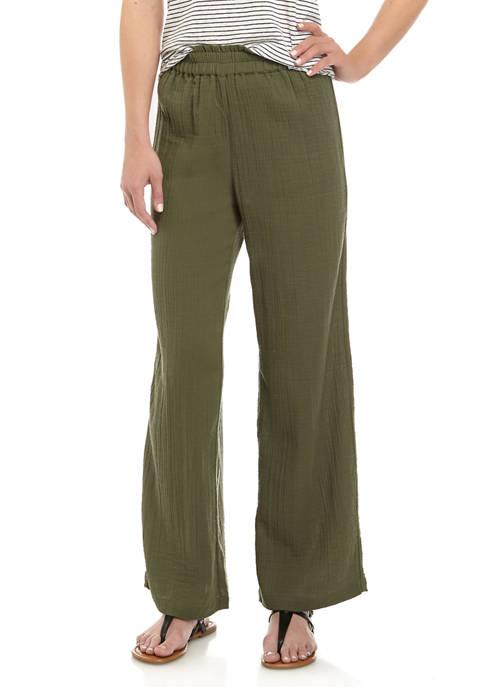 Womens Pull On Wide Leg Pants