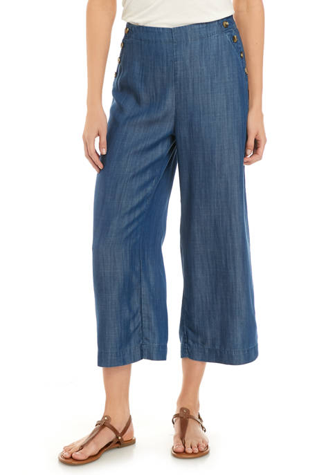 Womens Button Waist Cropped Pants