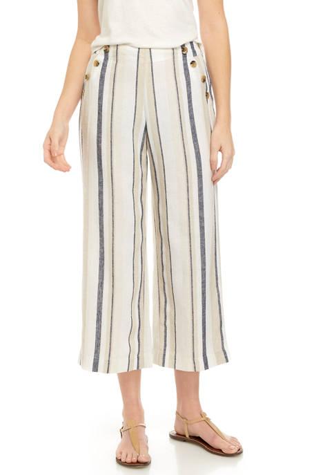Womens Stripe Button Crop Pants