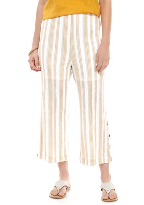 Womens Button Hem Crop Pants