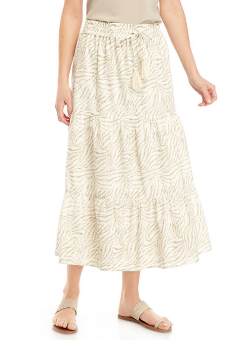 New Directions® Womens Tiered Printed Midi Skirt