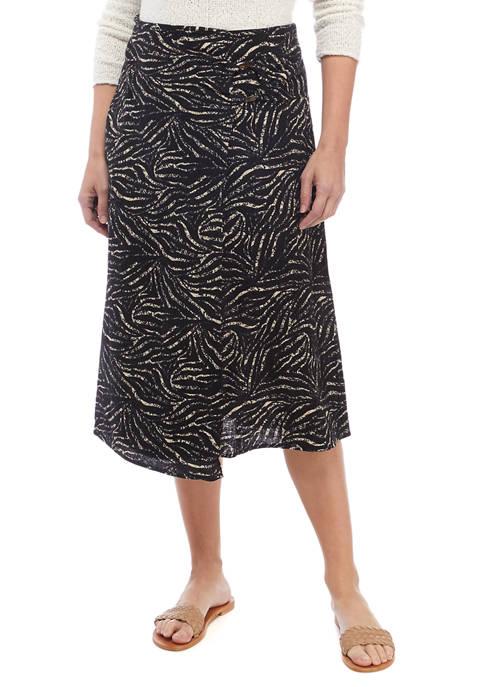 Womens Animal Printed Faux Wrap Skirt