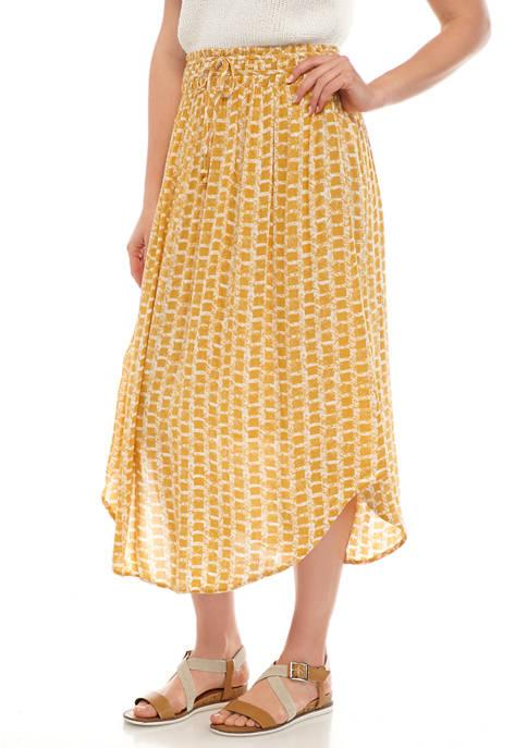 Womens Banded Waist Midi Skirt