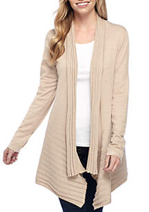 Long Sleeve Mixed Rib Heather Cardigan