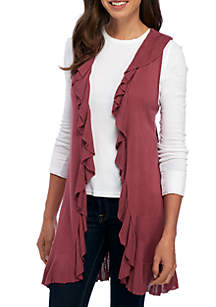 Ribbed Ruffle Sweater Vest