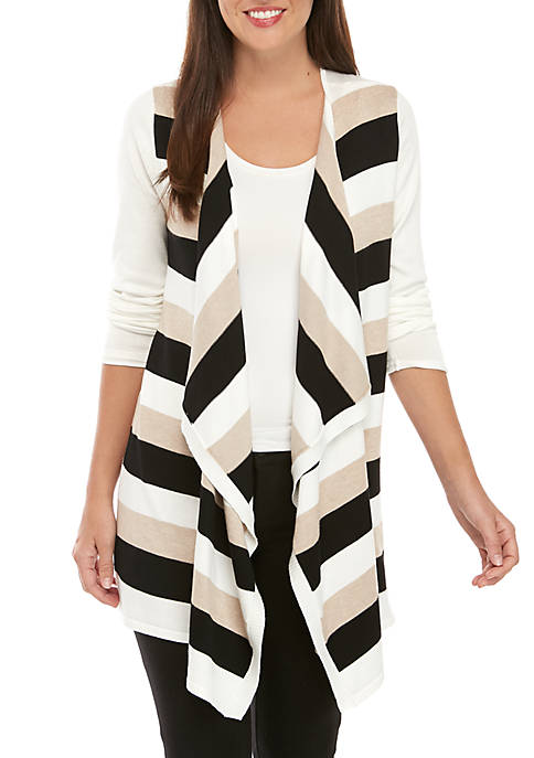 New Directions® Long Sleeve Stripe Cardigan