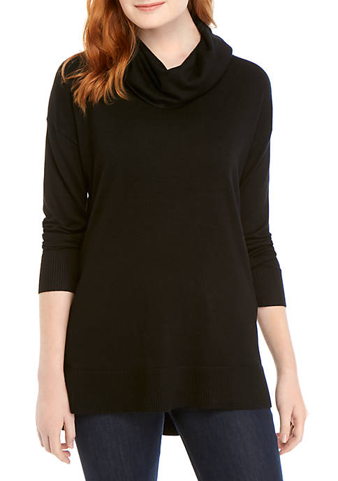 Long Sleeve Cowl Neck Solid Top