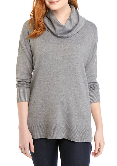 Long Sleeve Cowl Neck Heathered Top